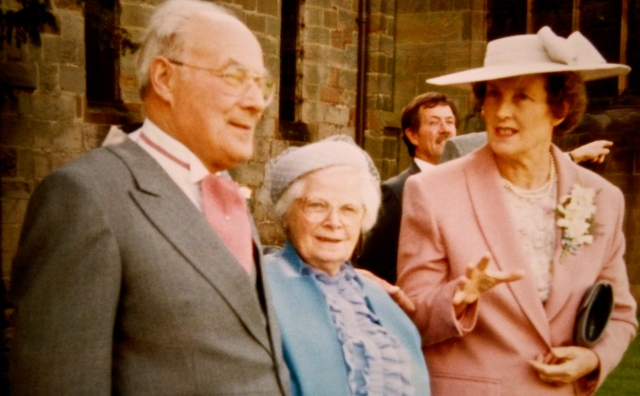 Aunt Mary, on a visit back to Staffordshire in 1992 for my wedding. Her little brother, Ted, who spent the first four years of his life at The Vigo, has his arm around her.  They always remained close.