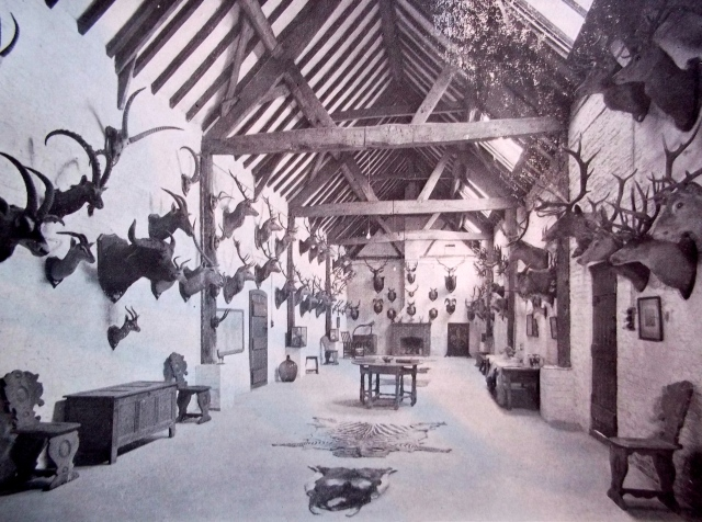 SPORTING TROPHIES IN THE BARN WHICH WAS BUILD IN 1664.  ITS DIMENSIONS ARE 70 BY 19 FEET.