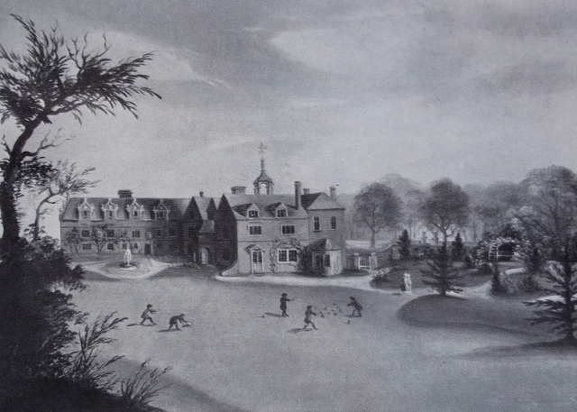LITTLE WYRLEY HALL BEFORE PHINEAS HUSSEY'S ALTERATIONS.  AN OIL PAINTING OF ABOUT 1790