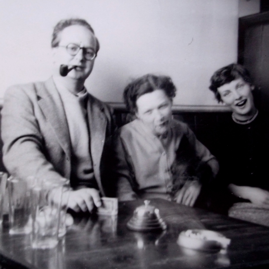 "Ron, Betty, and Mom, acting daft for my dad's camera in the ""Duke of Wellington"" pub on the Birmingham Road, Lichfield.  1950's"