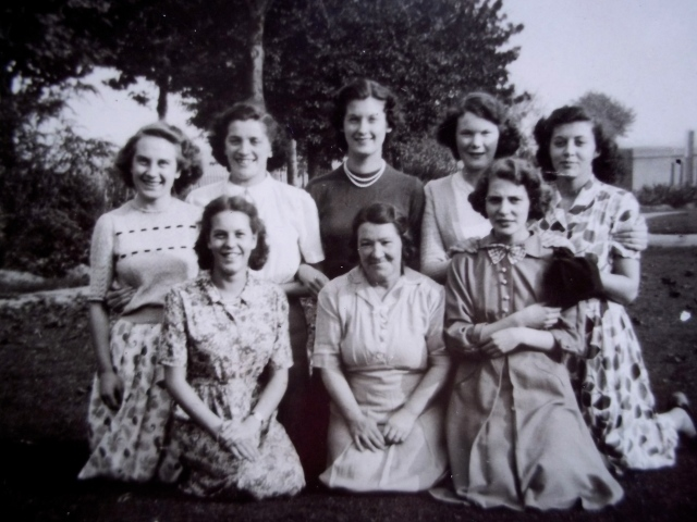The Dorothy Perkins girls of Walsall on an outing in the early 50's at an unrecalled location. Trainee manageress Irene Sheldon is centre back, Mrs Rathbone is centre front.