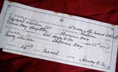 The marriage certificate of Elsie May Day and Edward Sheldon, joined in what was to be devoted matrimony by Father Yeo.