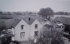View of Owletts Hall Farm in the 1940s, down the tree lined drive to the Lodge on Lynn Lane. How did my dad take this photo?