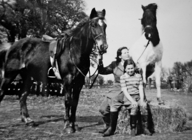 "With her beloved horse and beloved daughter, and my cousin Ros's pony ""Smokey Joe"" at the Owletts Farm in the early 1950's."