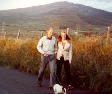 A golden evening walking home under Craig Goch. Me and my dad in the 80's.