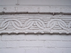 A decorative band of tile work.