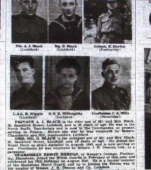 "The Lichfield ""Mercury"", Friday September 15th, 1944: ""Guardsman Edwin Horton, of Keeper's Cottage, Footherley, Shenstone, joined the Welsh Guards in February of this year and celebrated his 19th birthday on August 31st.  He is a former member of the Shenstone Home Guard, and up to joining the Forces was in the employ of Messrs. J.R. Deacon and Co., Lichfield."