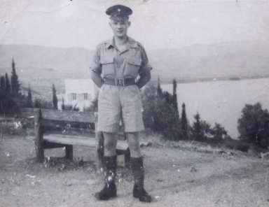 Guardsman E.N.Horton.  at Lake Tiberius (The Sea of Galilee) 1945