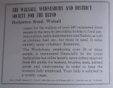 "1950s advertisement for the Walsall, Wednesbury and District  Society for the Blind.  As reproduced in ""Memories of Walsall by Alton Douglas and Dennis Moore"""