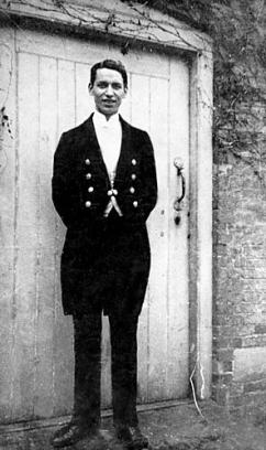 Horace Roome, a liveried footman at Shugborough Hall, an establishment still grand and wealthy enough to support him in the 1920s when this photograph was taken.  Horace Roome worked for the 4th Earl of Lichfield, whose g.g.g.grandparents left Orgreave for Shugborough in 1773.