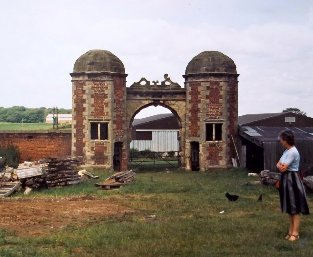 Mother appreciating the Tudor Gatehouse at Hamstall Ridware. C. 1982.