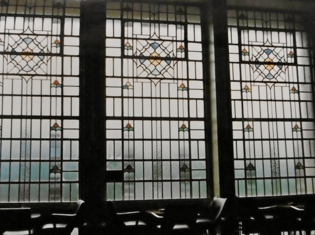 The interior of the splendid stained glass panels of the tea lounge in 1986.